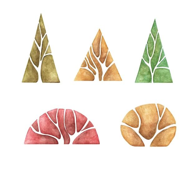 Набор абстрактных лесных деревьев. акварельные иллюстрации, осенние деревья.