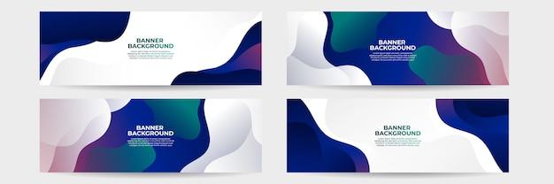 緑、赤、青のグラデーションの形で抽象的な未来的なバナーのセット