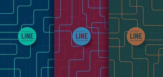 抽象的な未来的な青赤と緑の色の曲線のセットです。