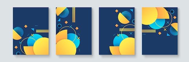네오 멤피스, 바우하우스, 증기파 스타일의 추상적 기하학적 최소 벡터 포스터 세트. 클럽 파티, 음악 콘서트, 바 프로모션을 위한 복고풍 미래 표지 컬렉션