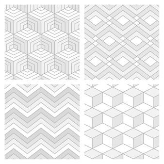 Set of abstract geometric motion seamless pattern