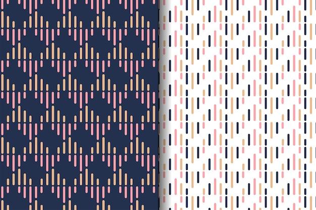抽象的な幾何学的なシームレスパターンのセットは、角の形に丸みを帯びたカラフルなラインを使用しています。