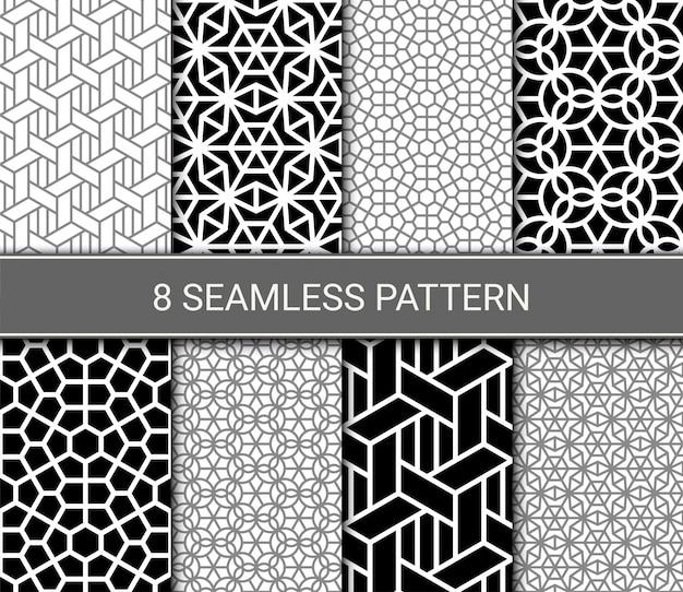 抽象的な幾何学的なシームレスパターンのセット
