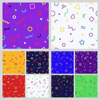 멤피스 스타일의 다양한 기호의 추상적 인 기하학적 원활한 patternt의 집합