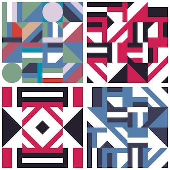 抽象的な幾何学的形状の装飾のシームレスなパターンのセットです。現代のモザイクベクトルイラスト。