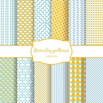 黄色、青、白の抽象的な幾何学的なベクトルのシームレスなパターンのセットです。