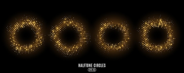 抽象的な金色のきらびやかなハーフトーンの円のセット。豪華な光るドットサークル。
