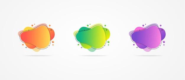 Набор абстрактных градиентных трех красочных шаблонов для дизайна баннеров. набор абстрактных современных графических элементов дизайна. динамичные красочные вырезки из бумаги. градиентные абстрактные макеты баннеров.