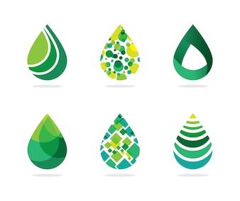 Set of abstract green water drop symbols