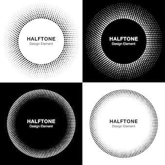 抽象的なハーフトーンサークルのセット
