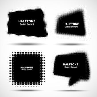 抽象的なハーフトーンデザイン要素、イラストのセット