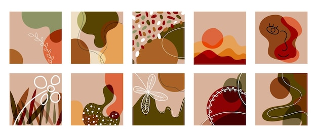 抽象的な手描きの線画の形、顔、スポット、葉のセットです。