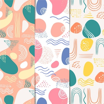 抽象的な手描きパターンのセット