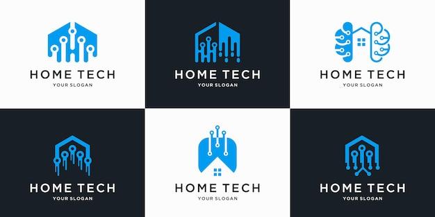 ラインアートスタイルのデザインと抽象的なホームテックロゴのセット