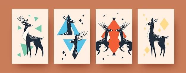 スカンジナビアスタイルの鹿の形をした抽象的なイラストのセットです。創造的なかわいい哺乳類と子供と女性の鹿。森の動物と野生動物の概念
