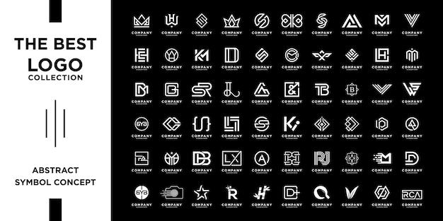 抽象的なイニシャル a から z のモノグラム ロゴ デザインのセット