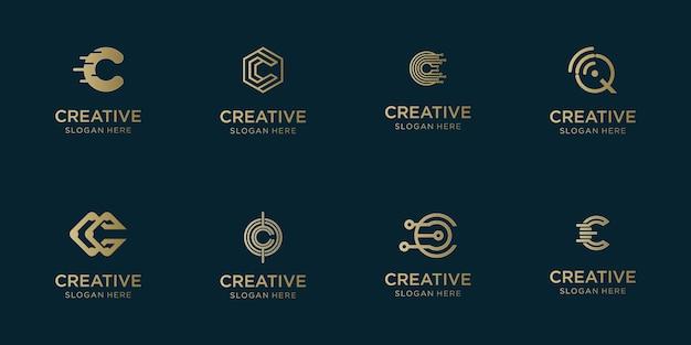 Набор абстрактных начальных логотипов az. monogram, иконок для бизнеса роскоши, элегантности и случайности