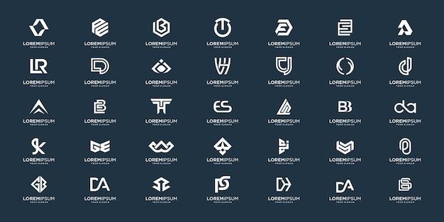Набор абстрактных начальных az. дизайн логотипа монограммы, иконки для бизнеса роскоши, элегантности и случайности.
