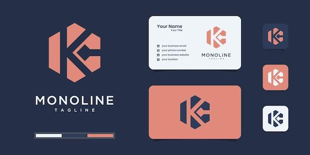 추상 초기 k & c 또는 kc 모노그램 로고 디자인, 비즈니스 또는 브랜딩 아이콘 세트.
