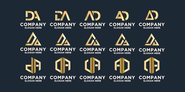 Набор абстрактных букв a и d логотип шаблонов