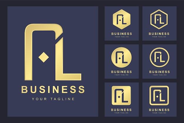 Набор абстрактной буквицы al, золотой шаблон логотипа.