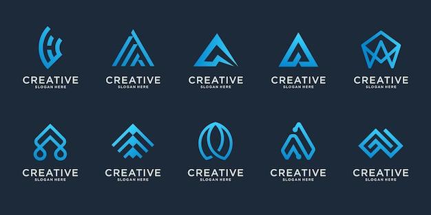 추상적 인 초기 편지 a 로고 디자인 서식 파일의 집합입니다. 명품 비즈니스 아이콘