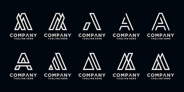 抽象的な頭文字のセットロゴテンプレート。贅沢、エレガント、シンプルなビジネスのためのアイコン。 Premiumベクター