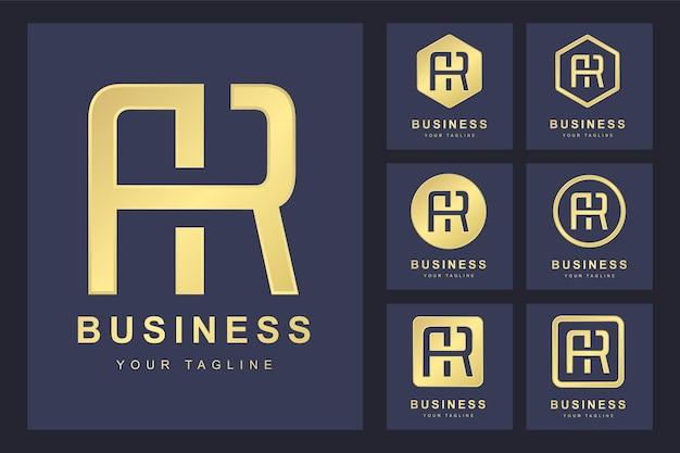 抽象的な頭文字ar、ゴールデンロゴテンプレートのセット。ロゴ。
