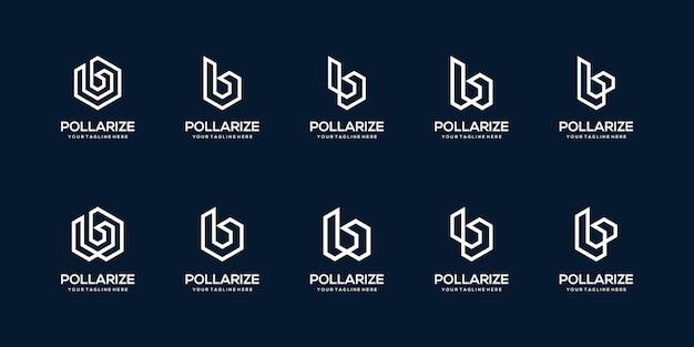 Набор абстрактных шаблонов логотипа начальной буквы b. иконки для бизнеса строительства, строительства