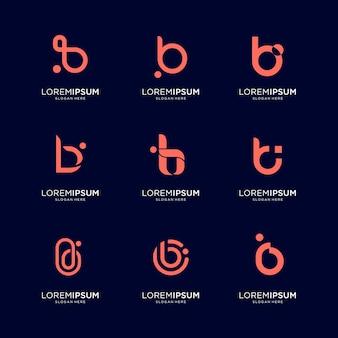 추상적 인 초기 편지 b 로고 템플릿 집합입니다. 럭셔리, 우아하고 간단한 비즈니스를위한 아이콘.