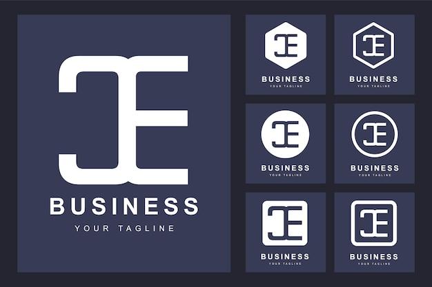 Набор абстрактных букв ce, шаблон логотипа.