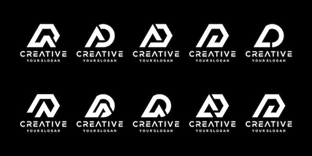Набор абстрактной буквицы d, шаблон логотипа. иконки для бизнеса моды, спорта, автомобильной, простой.