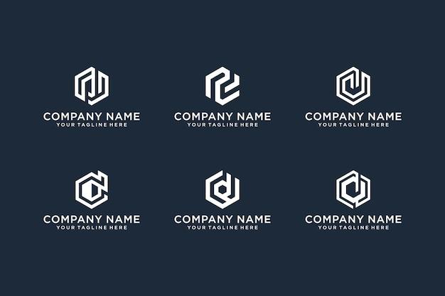 抽象的な頭文字dロゴデザインテンプレートのセット