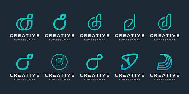 Набор абстрактных буквица d логотип шаблонов. иконки для бизнеса роскоши, элегантные, простые.