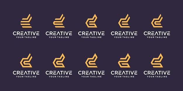 Набор абстрактных букв d логотипа шаблона.