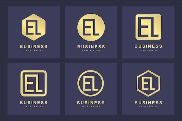 Набор абстрактных начальных букв el el шаблон логотипа.