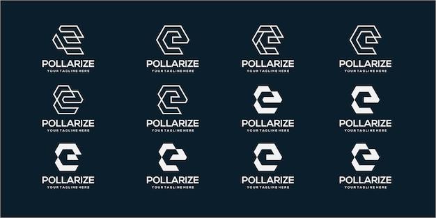 抽象的な頭文字eロゴデザインテンプレートのセットです。デジタル、テクノロジーのビジネスのためのアイコン。 Premiumベクター