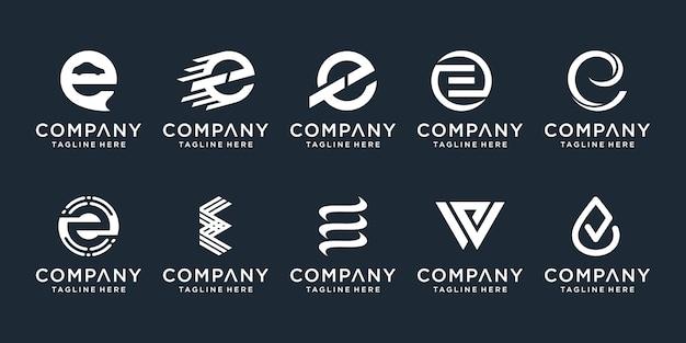 Набор абстрактных буквица e логотип шаблонов. иконки для бизнеса моды, спорта, автомобильной, простой.