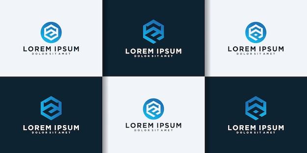 Набор абстрактных букв f логотип шаблон
