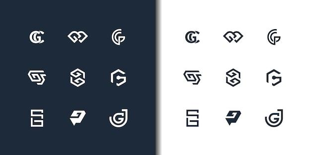 抽象的な頭文字gロゴデザインテンプレートのセットです。贅沢なビジネスのためのアイコン