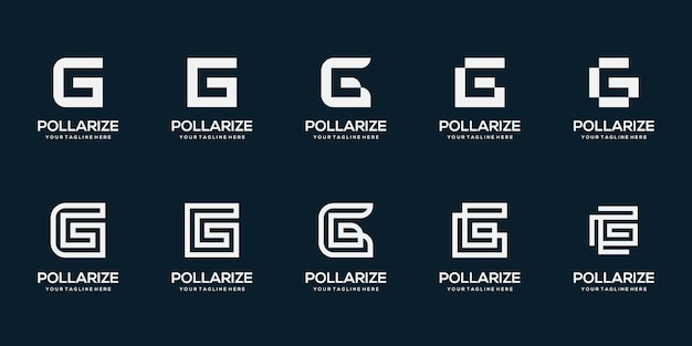 抽象的な頭文字gロゴデザインテンプレートイラストのセット