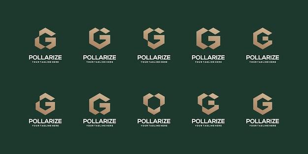 추상적 인 초기 편지 g 로고 디자인 서식 파일의 집합입니다.