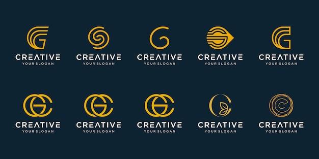 Набор абстрактных буквица g шаблон логотипа. иконки для модного бизнеса, элегантные,