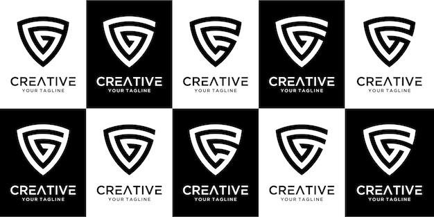 Набор абстрактных букв g логотип шаблон