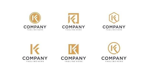 豪華でエレガントなシンプルなビジネスのための抽象的な頭文字kロゴデザインテンプレートアイコンのセット