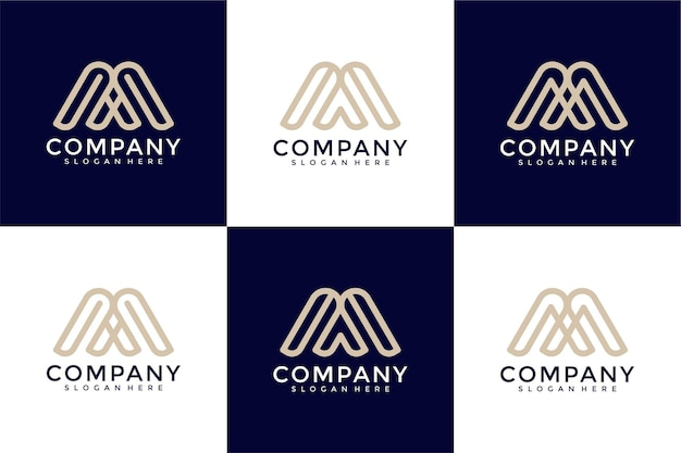 抽象的な頭文字mとロゴデザインテンプレートのセット