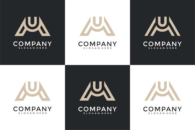 豪華でエレガントなシンプルなビジネスのための抽象的な頭文字mとuのロゴテンプレートのセット