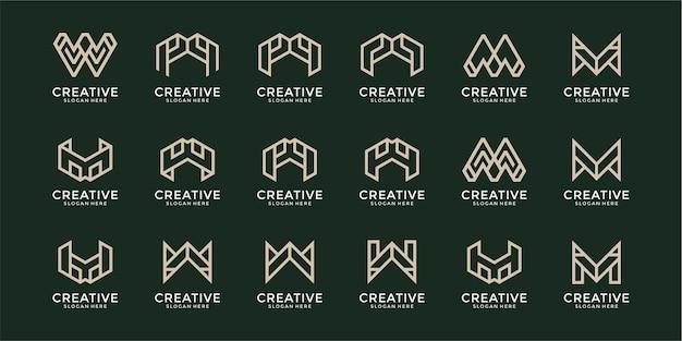 抽象的な頭文字 m と w のロゴ テンプレート アイコンのセット