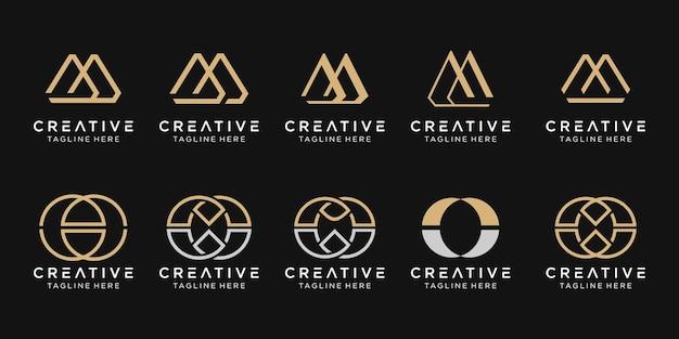 Набор абстрактных букв m логотип шаблон. иконки для модного бизнеса, простые.