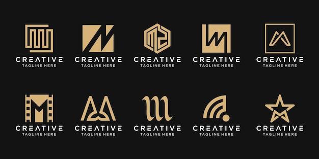 Набор абстрактных иконок шаблон логотипа буквица m для бизнеса моды спортивной автомобильной